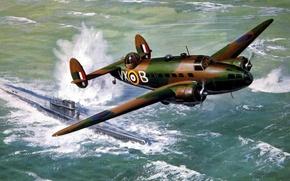 Picture war, art, airplane, painting, aviation, Lockheed Hudson