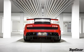 Wallpaper red, pipe, Lamborghini, lights, columns, supercar, spoiler, Gallardo, supercar, rear view, top gear, the best ...