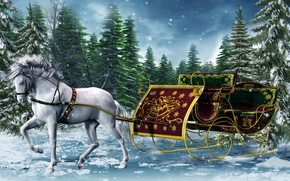 Wallpaper winter, horse, graphics, new year, ate, sleigh