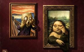 Wallpaper Mona Lisa, The Scream, art, faces, humor, Antonio De Luca, gallery, pictures