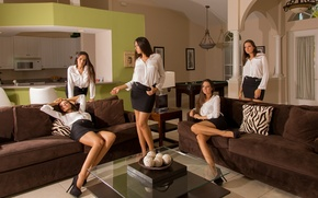 Picture table, girls, room, sofa, kitchen