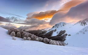 Picture winter, the sky, clouds, snow, Italy, The Apennine mountains