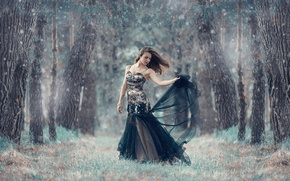 Picture forest, girl, dress, Alessandro Di Cicco, A cold forest
