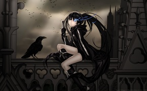 Picture girl, night, clouds, castle, darkness, pack, anime, warrior, balcony, Raven, black rock shooter, catch the …