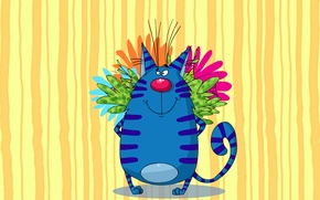 Picture cat, paint, bouquet, picture, large, art, painting, cat, colors, funny, funny, painting, surprise, happy, behind, …