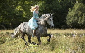 Picture cinema, grass, Disney, flower, dress, trees, bushes, movie, woods, animal, horse, blonde, film, princess, Cinderella, ...