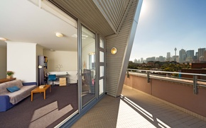 Picture design, the city, style, interior, balcony, living space, duplex apartment