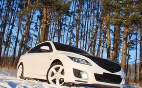 Wallpaper snow, trees, Mazda 6