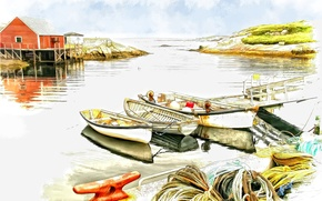 Picture house, boat, figure, pier, watercolor