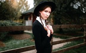Picture girl, braids, hat, George Chernyadev, Amish