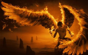 Picture rocks, fire, wings, feathers, art, guy