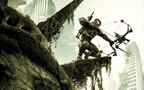 Wallpaper weapons, home, New York, bow, soldiers, machine, devastation, arrow, The Statue Of Liberty, leaves, nanosuit, ...