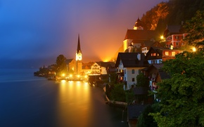Picture mountains, night, lights, lake, home, Austria, Alps, Austria, Hallstatt, Alps, Hallstatt