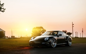 Picture the sun, black, 911, 997, Porsche, Porsche, black, Blik, front, Turbo