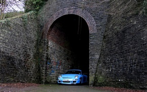 Picture 911, gt3, Blue, Porsсhe, Tunnel