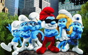 Picture the city, New York, dwarves, skyscrapers, the movie, The Smurfs, Smurfs