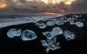 Wallpaper sea, sunset, ice