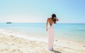 Picture beach, summer, girl, the ocean, hair, white dress
