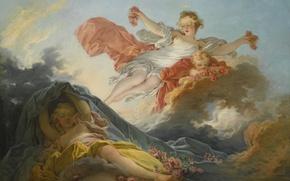Picture Aurora, Night, triumph, Goddess, Jean-Honore Fragonard