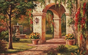 Picture house, picture, fountain, arch, painting, facade, painting, Sung Kim