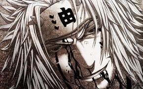 Picture look, smile, blood, headband, male, Naruto, Naruto, art, jiraiya, linnyxito