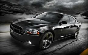 Picture road, the sky, clouds, black, 2012, Dodge, dodge, charger, the front, Blacktop, charger, version, special, …
