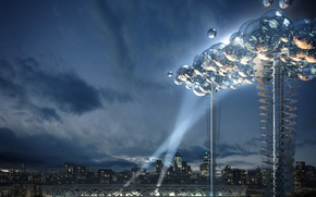 Picture balls, London, tower, UK, The project, rays of light, stadium, Olympic games 2012, energy-efficient cloud, …