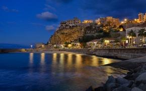 Picture landscape, night, lights, rock, home, Italy, Naberezhnaya, Calabia, Pizzo