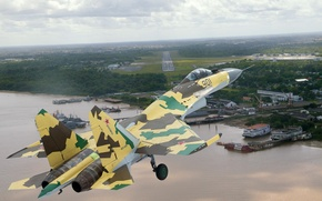 Wallpaper flight, SU-35, the approach, shore, the airfield, camouflage