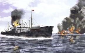 Picture sea, fire, smoke, figure, ships, art, destroyer, WW2, the cargo ship