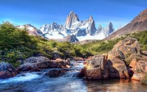 Wallpaper Patagonia, Patagonia, snow, mountains, South America, mountain river, the sky, stones