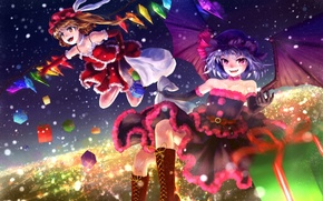 Picture joy, night, the city, girls, mood, holiday, new year, wings, gifts, demons, touhou, remilia scarlet, …