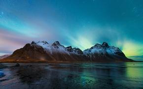 Picture beach, the sky, stars, mountains, night, shore, ice, Northern lights, Iceland, Vestrahorn, Stockksness