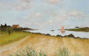 Picture field, landscape, boat, picture, Bay, sail, Marseille Dif, Wheat at Crouesty