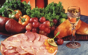 Picture Meat, parsley, sausage, bell pepper, vegetables, bell pepper, dill, dish, dish, meat, glass, grapes, parsley, ...