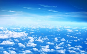 Wallpaper Beautiful clouds, blue sky, height, blue, clouds, the sky, white