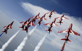 Picture Flying, Red Arrows, BaE Hawk, Aerobatic, Formation Flying