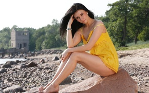 Picture stone, brunette, posing, on the shore