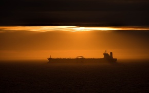 Picture sea, the sky, sunset, tanker