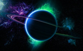 Picture green, light, Star, blue, planet, Sci FI