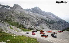 Picture road, mountains, McLaren, Jaguar, Mustang, Ford, 911, Porsche, BMW, Volkswagen, Bugatti, Ferrari, Boss 302, Veyron, …