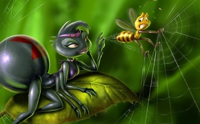 Picture bee, A_Bug s Death, spider, populace