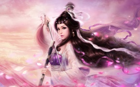 Picture girl, fantasy, the wind, the game, sword, Sakura, warrior, petal, art, costume, tape, Keith