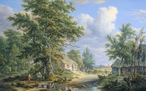 Picture landscape, picture, Egbert van Delst, Farm on the edge of the Forest