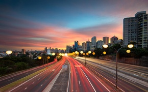 Picture road, sunset, the city, track, lights, Sydney