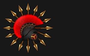Wallpaper helmet, Sparta, spears, background