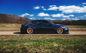 Picture road, field, grass, shadow, Subaru, wheel, WRX, side, sky clouds