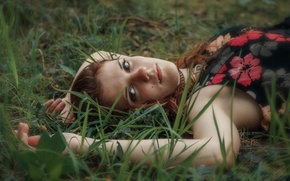 Picture Nature, Girl, Grass