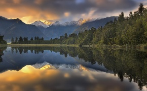 Picture forest, landscape, sunset, mountains, nature, lake, reflection, New Zealand, Southern Alps, lake Matheson