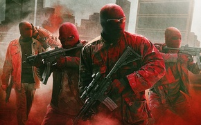 Picture weapons, glasses, mask, poster, robbery, cops, crime, machines, police, Three nines, Triple 9